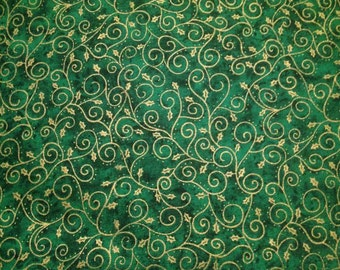 Sale! Christmas Cotton Green & Gold Fabric by Fabri-Quilt x one yard