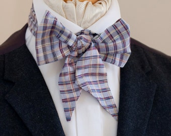 Wild Silk Victorian Bow Tie in Blue and Red on Lilac Check Plaid