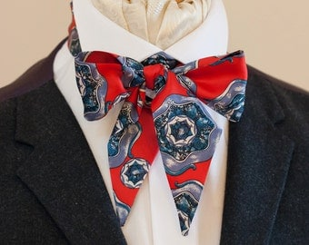 Red and Blue Vintage Italian Silk Victorian Bow Tie