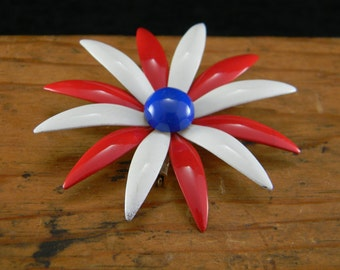 Red White and Blue Enamel Flower Brooch 1960s