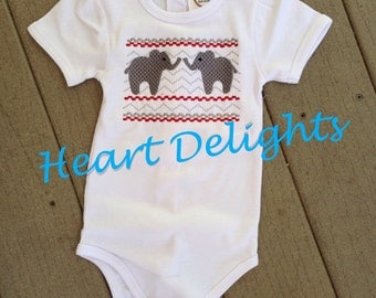 Infant Baby Girl Newborn One Piece  Embroidery  Smocked  Elephants  Crimson and White