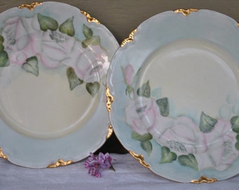 A pair of Hutschenreuther Porcelain Plates, Country French Decor, Antique Hand Painted Dessert Plates