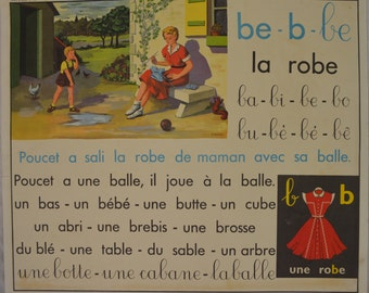 Vintage French School Poster, Childrens Room Decor, Editions Rossignol Poster Educational Poster,