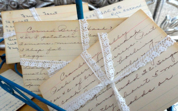 Retro Wedding Gifts: Vintage Handwritten Recipe Cards Wedding Gifts Scrapbooking