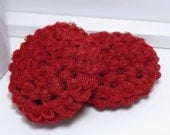 Crochet Dish Scrubbies - Crimson Red Scrubby - Set of 2 Handmade Scouring Pads
