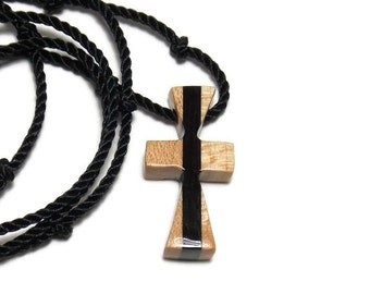 Wooden Cross Necklace - Maple & Ebony Hardwoods - Men's Jewelry