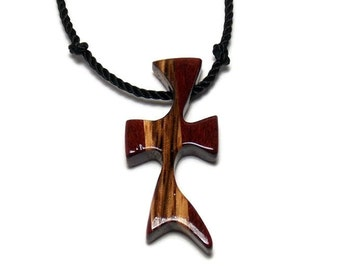 Wooden Cross Necklace - Bloodwood & Zebrawood Men's Necklace
