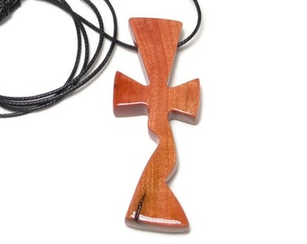 Men's Necklace - Mens Cross Necklace - Wooden Cross Pendant - Medium Cross Necklace - African Pink Ivory Wood - Gifts Under 25