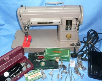 Vintage Singer 301 Sewing Machine, Accessories, Buttonholer, Lightweight, Portable