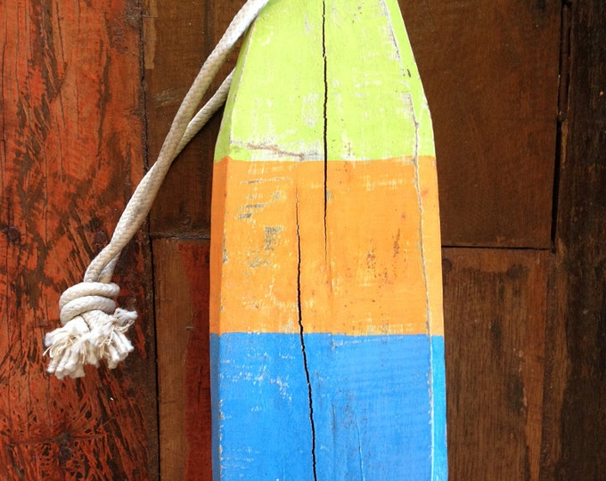"Blue Green 11"" Orange Lobster Buoy, Nautical, Wooden by SEASTYLE"