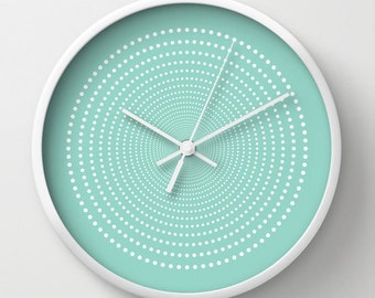 30 colours: Vortex Pattern Wall Clock, White dots wall clock, Geometric Pattern Modern Wall Art, Designer Wall Clock, Decorative wall clock