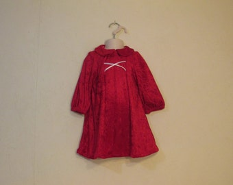 Handmade crushed red velvet panne baby/toddler dress, hat, and diaper cover panties set