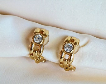 Christian Dior vintage 12K gold plated and rhinestone earrings