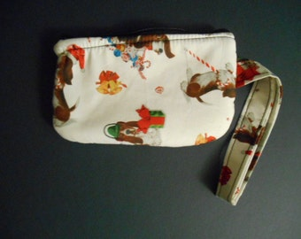 Wristlet Purse, wallet, change, make-up case, bassett hounds, Christmas