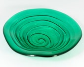 Green Organic Fused Glass Bowl with Stand