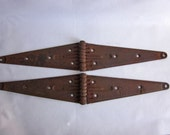 RESERVED LISTING MICHELE b Two Large Vintage Rusty Strap Hinges