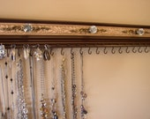 """Brown jewelry storage,Jewelry organizer rack 19 hooks for necklaces, space for 19 pairs of earrings storage 26"""" w/bronze embossed background"""