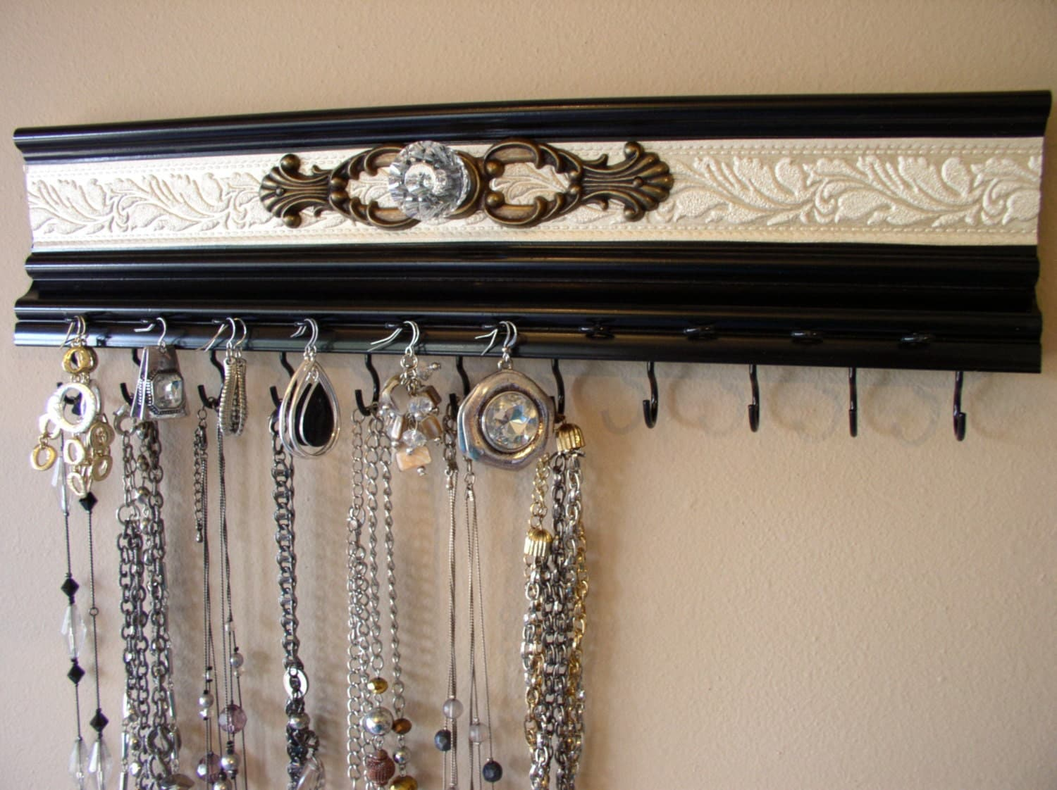 Black Jewelry Organizer Wall Hanger 11 Hooks For Necklaces