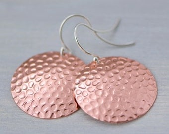 Copper Hammered Earrings - Copper Circle Earrings - Dangle Earrings - Copper Jewelry - Hammered Texture - Circle Disk Earrings