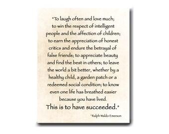 Ralph Waldo Emerson Quote - Laugh Often Love Much - Emerson Print - Literature Print - Graduation Gift - Inspirational Quote - Nursery Print