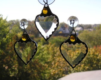 Stained Glass|November Birthstone|Birthstone Heart|Heart|Stained Glass Suncatcher|Amber Gem|Topaz|Citrine|Handcrafted|Made in USA