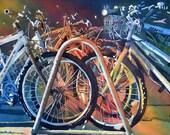 Watercolor ORIGINAL Bicycle Rack, bicycles, sunlight morning rack bike