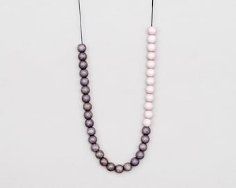 Grey Necklace, Long Beaded Necklace, Grey And Beige
