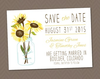 Sunflower Save the Date -  DIY Printable Rustic Wedding