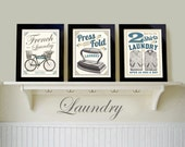 Vintage Black White Laundry Room Old Fashioned Prints French Country Art Picture Set of 3 Bathroom Decoration Wash Dry Iron New Home Gift