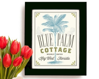 Key West Florida Bathroom Palm Tree Decor Bedroom Art Motel Art Florida Style Cottage Style Florida Decor Office Art Wall Print Sign