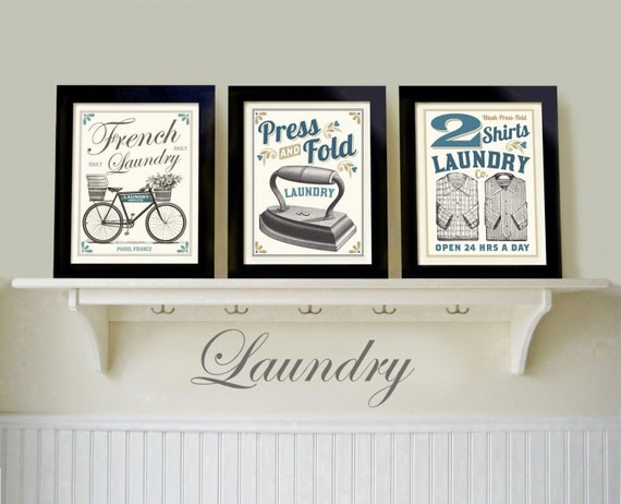 Vintage Black White Laundry Room Old Fashioned Prints French Country
