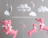 Customized Baby Mobile - Dachshunds and Bird
