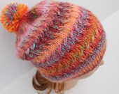 Knit Multicolor Slouchy Pompom Hat, Hand Knit Women Hat, Hand Knit Girl Hat, Knit Pompom Hat