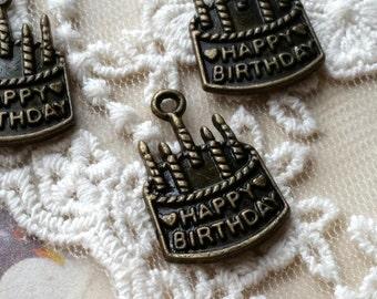 21 x 15 mm Antiqued Bronze Birthday Cake Charm Pendants / One-Sided Patterns (.ti)