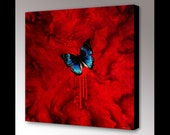 Butterfly Canvas Art | Red Art | Abstract Art | Canvas Art Print | Butterfly Decor | Goth |  Blue Butterfly Art | Insect Art | Modern Art