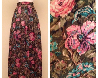 Adorable Pinup Skirt Floral Print in Pink and Teal by JH Collectibles - Knee Length Pleated Skirt Size Small