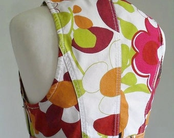 OP ART VEST . Bold Loud Giant Flowers Print Colorful Vest Gilet Waistcoat Top 80s S
