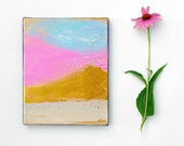 Small wall art Original painting in Pink Gold modern decor art, art on 8x10 canvas