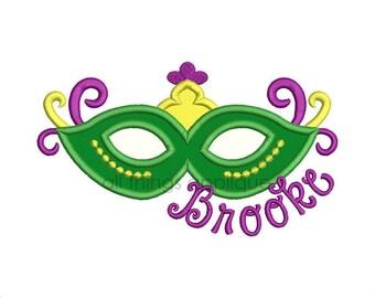 Mardi Gras Mask Applique Design - 4 Sizes - Machine Embroidery Designs - INSTANT DOWNLOAD