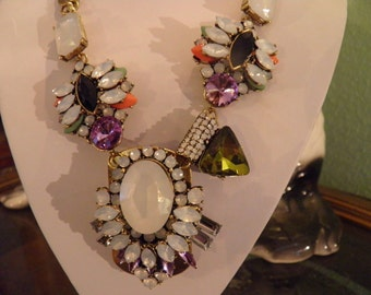 Chunky, Bold Old Hollywood Necklace With the Look of Opals, Peridot, Coral and Amythist.