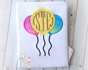 Birthday Balloons Monogrammed applique shirt- Rainbow Balloons- Bright colors