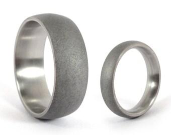 Set of two Dark Sandblasted Titanium Wedding Rings