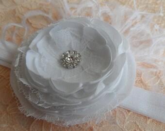 Baby Girl Christening Headband - Baby Girl Baptism headband - Baby Special Occasion Headband / Wedding / Photography.