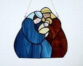 Stained Glass Nativity Scene with Mary, Joseph and Baby Jesus Christmas Suncatcher Window Hanging