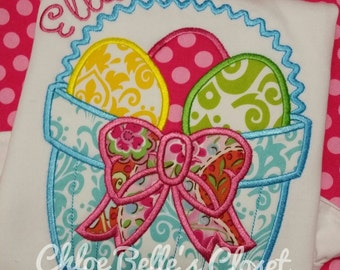 Bright Easter Basket  with Bow Ruffle shirt