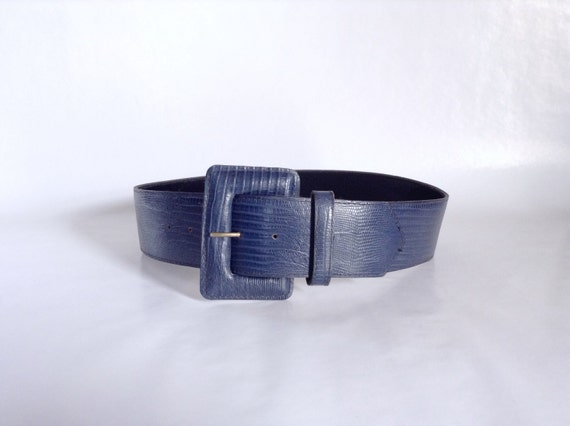 wide blue belt genuine leather chunky buckle by noffhouseshop