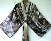Kimono Brown Silver African Ethnic Motive Elegant Long