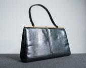 Vintage 60s Black Faux Reptile Embossed Leather Handbag