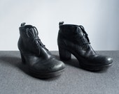 Vintage Black Leather High Heel Lace Up Shoes Ankle Boots Size 7.5