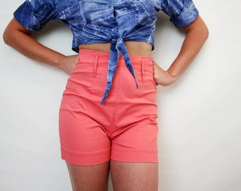 Vintage High Waist Peach Stretchy Shorts